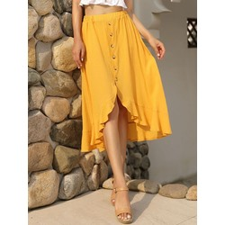 Button Plain Asymmetrical Date Night Women's Skirt