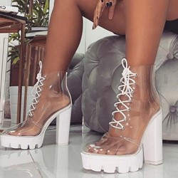 Shoespie Clear Chunky Heel Neon Lace-Up Boots