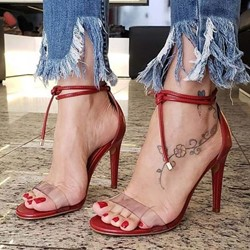 Shoespie Clear Red Lace Up Stiletto Heel Sandals