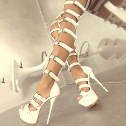 Shoespie White Platform Buckle Stiletto Heel Gladiator Sandals