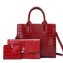 Shoespie Embossing PU Alligator Square Tote Bags