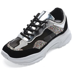 Shoespie Glitter Black Chunky PU Sneakers