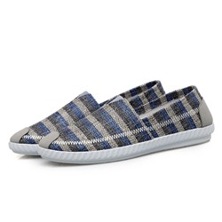 Shoespie Men's Slip-On Low-Cut Upper Stripe Round Toe Thin Shoes