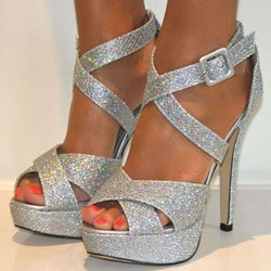Shoespie Silver Platform Prom Peep Toe Stiletto Heel Pumps