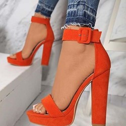 Shoespie Platform Chunky Heel Buckle Sandals