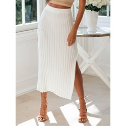 Plain Mid-Calf A-Line Mid Waist Women's Skirt