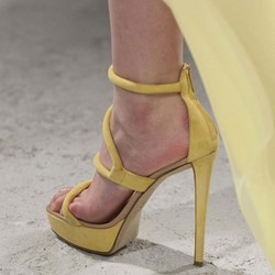 Shoespie Platform Zipper Stiletto Heel Yellow Sandals