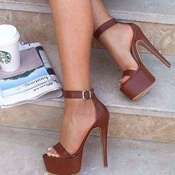 Shoespie Brown Buckle Open Toe Buckle High Heel Sandals
