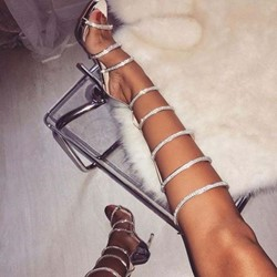 Shoespie Beaded Stiletto Heel Zipper Gladiator Sandals