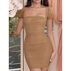 Above Knee Pleated Square Neck Women's Bodycon Dress