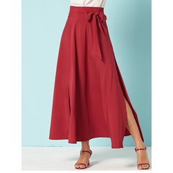 Split A-Line Mid-Calf Date Night Women's Skirt