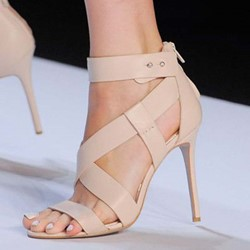 Shoespie Stiletto Heel Nude Zipper Sandals