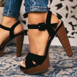 Shoespie Stylish Buckle Open Toe Ankle Strap Sandals