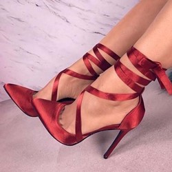 Shoespie Red Strappy Pointed Toe Stiletto Heels