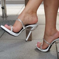 Shoespie White High Heel Casual Slippers