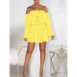Above Knee Long Sleeve Pleated Women's A-Line Dress