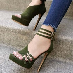 Shoespie Green Platform Buckle Zipper Stiletto Heel Sandals
