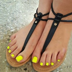 Shoespie Clip Toe Black Thong Zipper Sandals