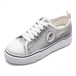 Shoespie Sliver Lace-Up Casual Sneakers