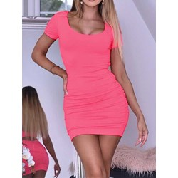 Short Sleeve Above Knee Hollow Women's Bodycon Dress