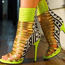 Shoespie Stylish Heel Green Zipper Sandals