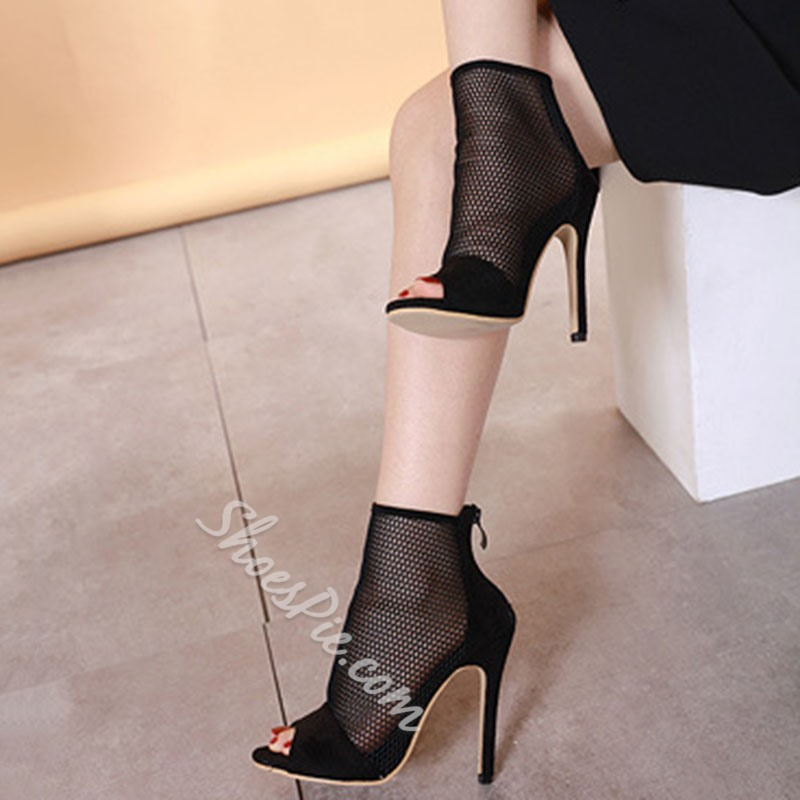 Shoespie Black Mesh Stiletto Heel Peep Toe Zipper Pumps