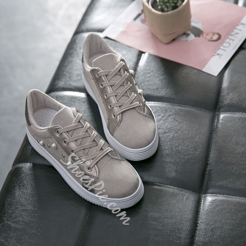 Shoespie Beaded Casual Lace Up Sneakers