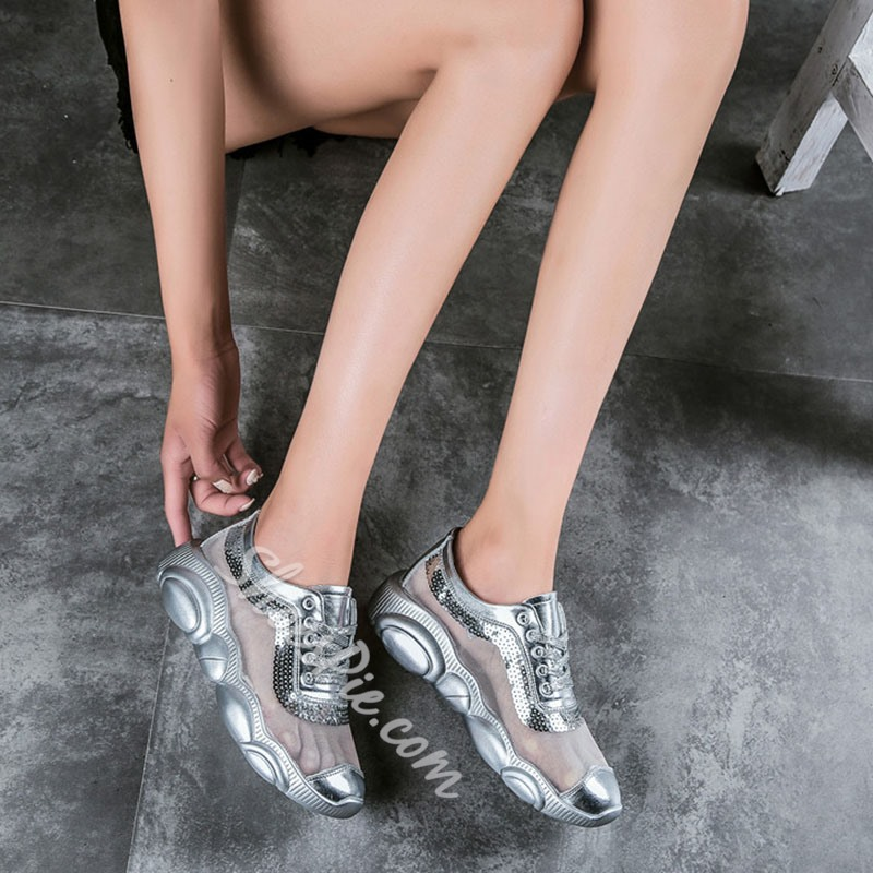 Shoespie Silver Lace Up Platform Sneakers