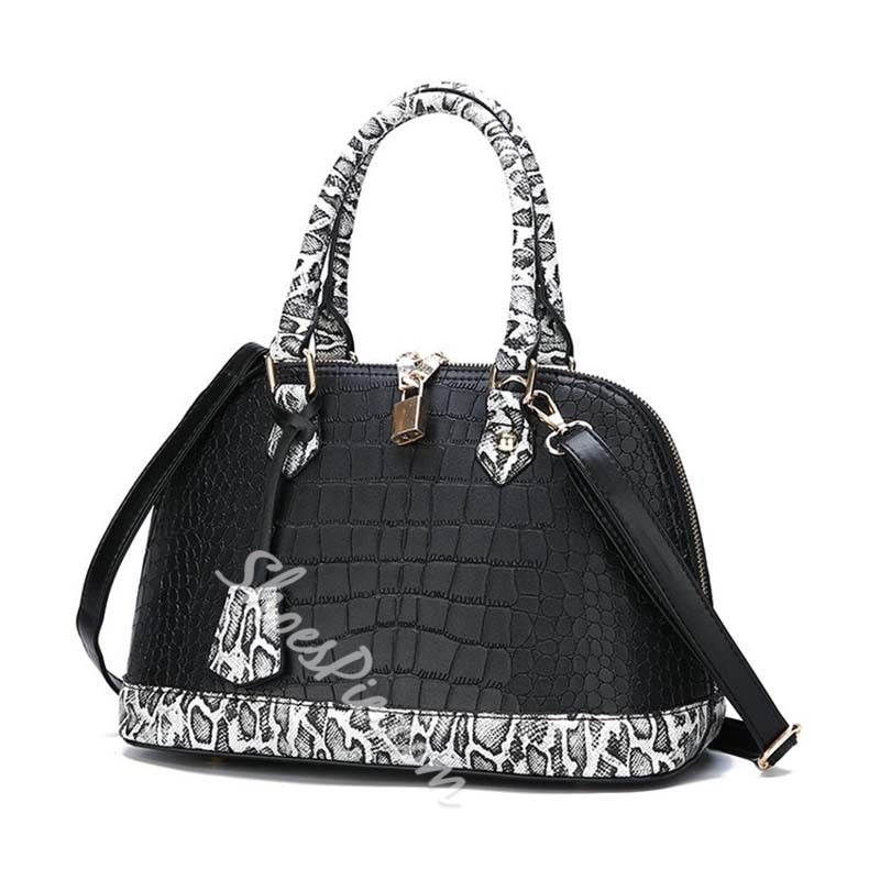 Shoespie Serpentine PU Embossing Shell Tote Bags