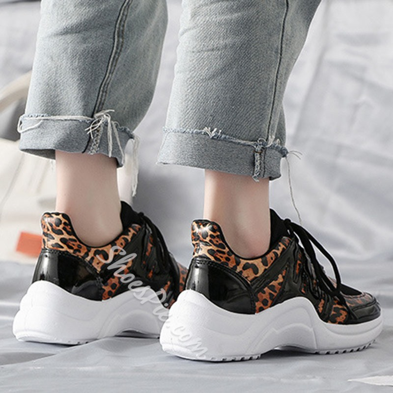 Shoespie Leopard Chunky Casual Lace Up Sneakers