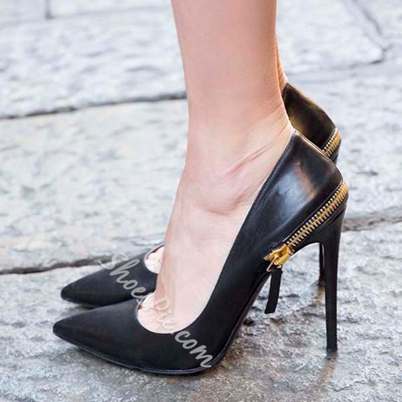 Shoespie Zipper Black Pointed Toe Stiletto Heels