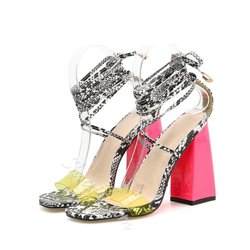Shoespie Strappy Clear Chunky Heel Neon Sandals