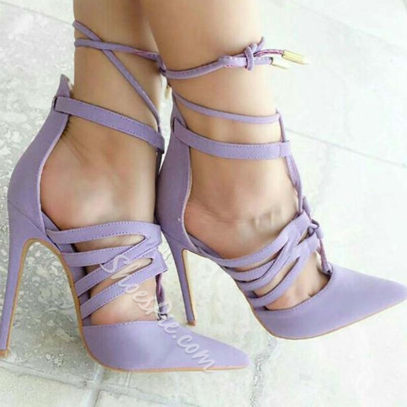 Shoespie Strappy Hollow Purple Stiletto Heels