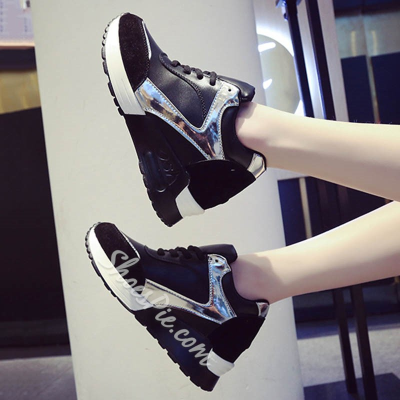 Shoespie Black Hidden Heel Sneakers