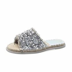 Shoespie Glitter Flat Open Toe Slippers