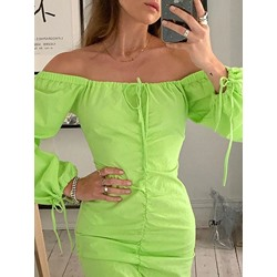 Above Knee Pleated Off Shoulder Women's Bodycon Dress