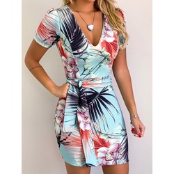 V-Neck Lace-Up Above Knee Floral Women's bodycon Dress