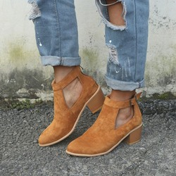 Shoespie Hollow Zipper Chunky Heel Zipper Boots