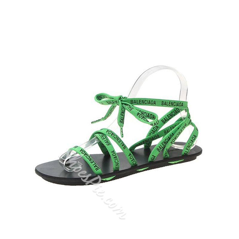 Shoespie Ankle Strap Lace-Up Open Toe Casual Sandals