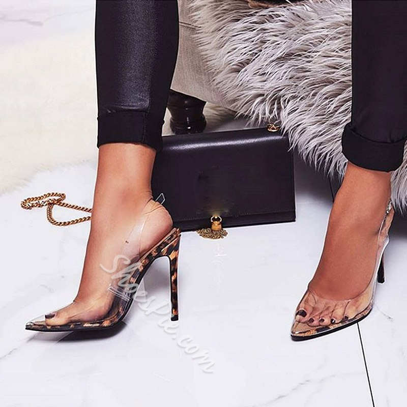 Shoespie Clear Leopard Slingback Strap Stiletto Heel Sandals