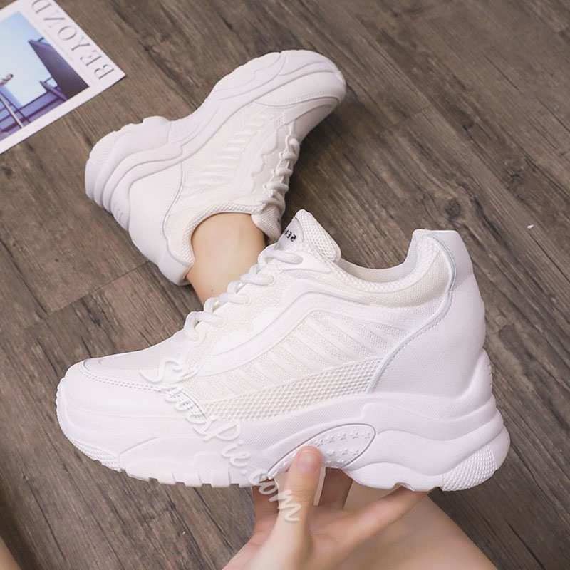 Shoespie Lace-Up Color Block Sneakers