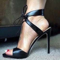 Shoespie Black Lace-Up Open Toe Stiletto Heel Sandals