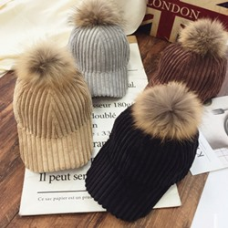 Baseball Cap Pompon Korean Plain Hats