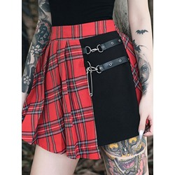 Halloween Costume Patchwork Mini Skirt A-Line Gothic Style Women's Skirt