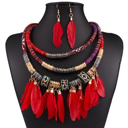 E-Plating Feather Necklace Gift Jewelry Sets