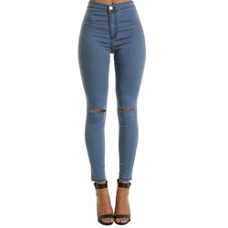 Pencil Pants Plain Hole Skinny Women's Jeans