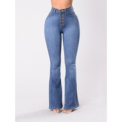 Washable Bellbottoms Plain Button Women's Jeans
