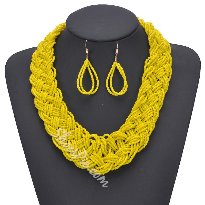 Shoespie Woven Bohemian Necklace Jewelry Sets
