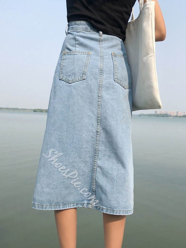 Button Mid-Calf Plain Casual Women's Skirt