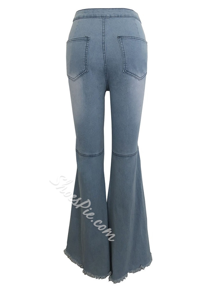Bellbottoms Plain Hole Mid Waist Women's Jeans